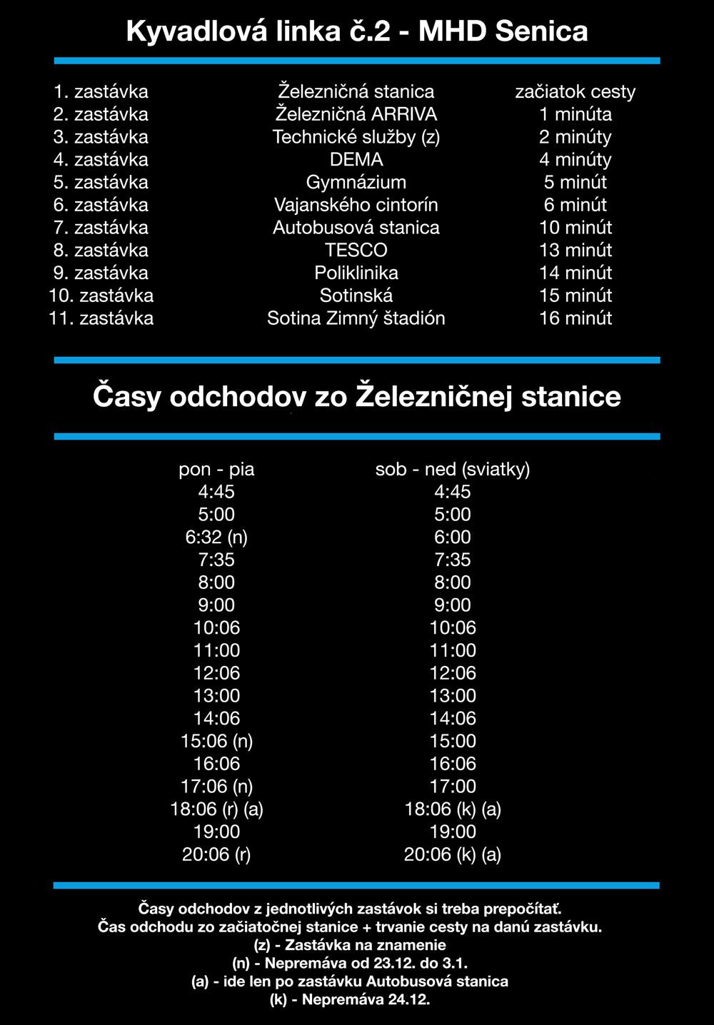 Linka číslo 2 na Zimný Štadión stanicu - MHD Senica - Cestovný Poriadok