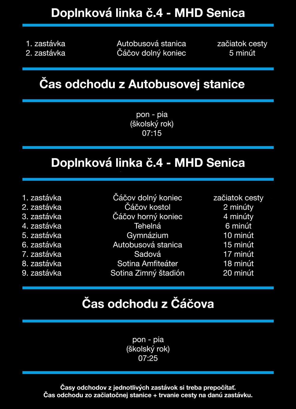 Linka číslo 4 z Autobusovej stanice do  Čáčova a z Čáčova so škôl - MHD Senica - Cestovný Poriadok